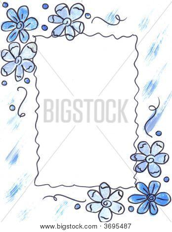 Border Blue Flowers