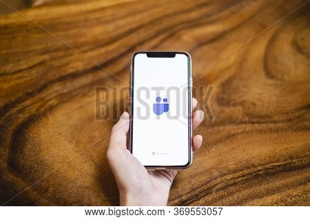 Bangkok, Thailand - May 17, 2020: A User Opens The Microsoft Teams Application On Smartphone Screen