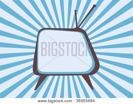 Retro television set with blue sunburst background poster