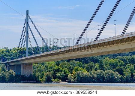 Novi Sad, Serbia - July 3, 2019: View At Liberty Bridge (most Slobode) In Novi Sad, Serbia