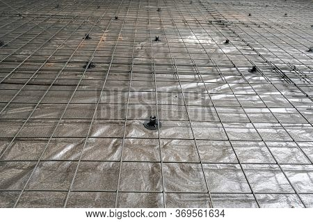 The Mesh For Reinforcement Concrete Slab In The Garage