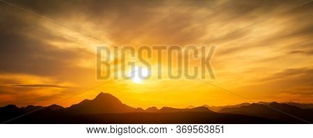 Panorama Of A Vivid Sunset Over The Mountains And Desert Of The Sonoran Desert In Arizona.