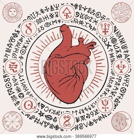 Red Human Heart In The Framing Of Scribbles Imitating Ancient Hieroglyphs, Medieval Runes, Spiritual