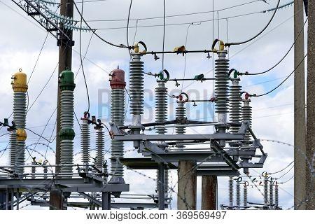 High Voltage Power Transformer Substation . Converter Transformer With Ceramic Insulators.