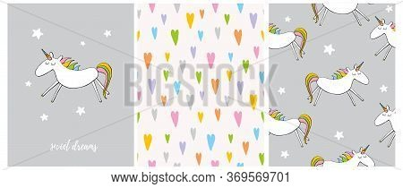 Sweet Dreams. Funny Nursery Vector Illustration And Patterns. Cute Dreamy Unicorn Isolated On A Ligh