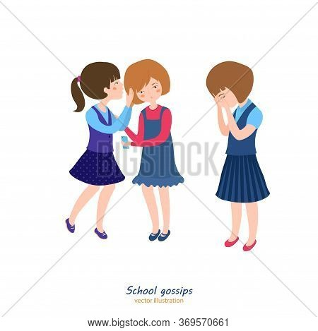 Girls Gossiping. Teenager Behavior Concept. School Relationships. Best Friends. Editable Vector Illu