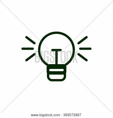 The Light Bulb Icon Is Insulated In White. Vector Line Icon. . Black Lighting. Light Bulbs As A Sign