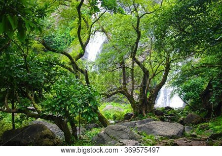 Khlong Lan, Thailand - August, 2016:  Jungle Landscape With Flowing Water Of Khlong Lan Waterfall In