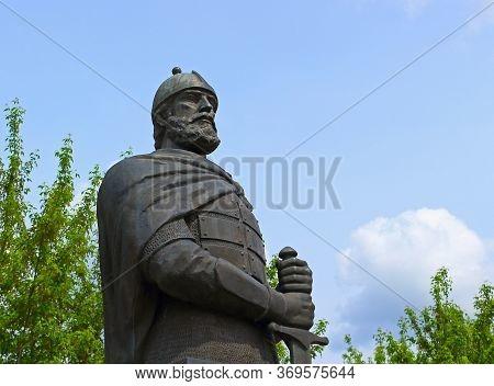 Zaraysk, Russia - 12 May, 2019: Monument To The Savior Of The Fatherland, Governor Of Zaraysk, Princ