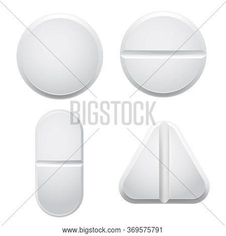 Medical Pills. Vector Illustration Set Of Medical Vitamin, Antibiotic And Medicine Drug, Medication