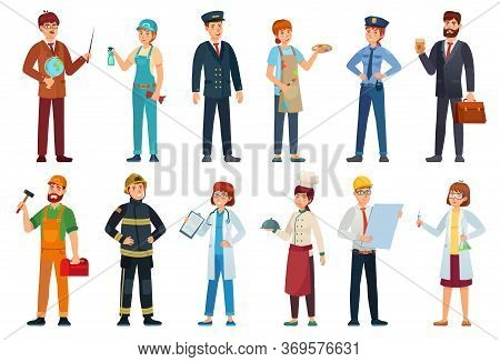Professional Workers. Different Jobs Professionals, Labor People And Workers Cartoon Vector Illustra