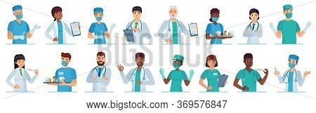 Cartoon Medical Workers. Doctor Portrait, Medical Student And Intern In Scrubs Or White Coats. Male