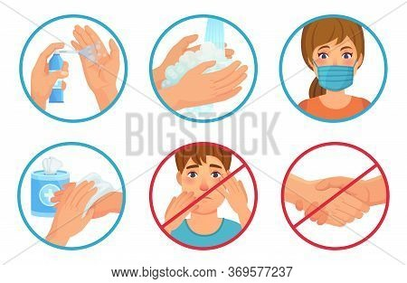 Prevention Of Coronavirus Infection. Use Face Mask, Sanitizer And Wash Your Hands. Dont Touch Face A