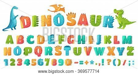 Cartoon Dino Font. Dinosaur Alphabet Letters And Numbers, Funny Dinos Letter Signs For Nursery Or Ki