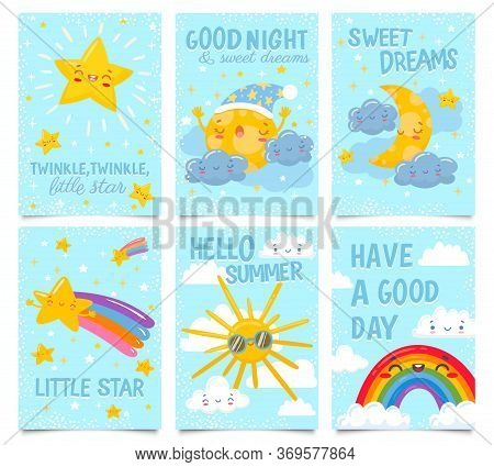 Sky Posters. Twinkle Little Star, Good Night And Sweet Dreams Card. Sleepy Moon, Clouds And Stars, H