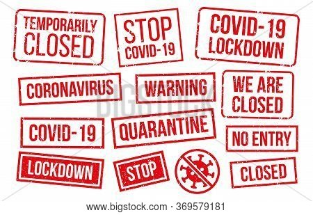 Covid-19 Stamps Collection, Red Texture. Vector Epidemic Lockdown, Temporarily Closed, No Entry Zone