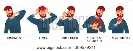 Covid-19 Symptoms Male, Tiredness, Fever And Dry Cough. Vector Respiratory Symptom Coronavirus, Sore