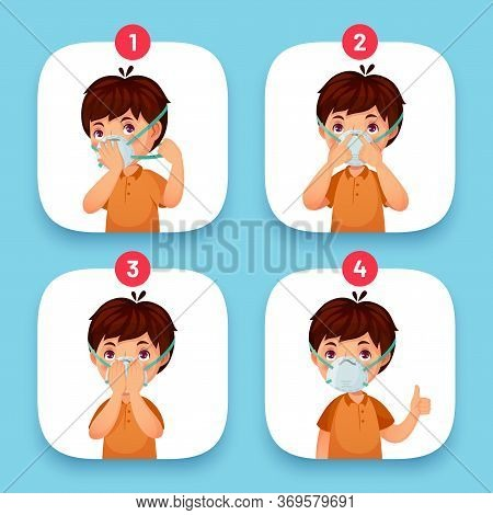 Mask Instruction Wearing. Protection Mask Face Instruction Correct Order Steps Dress In Medical Mask