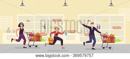 Panic Buying. People Run With Full Cart At Supermarket. Customer Shopping Hysteria. Vector Illustrat