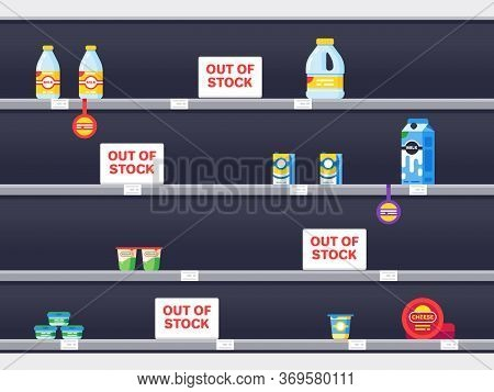 Supermarket Shelf With Sold Out Products. Supermarket Interior With Empty Shelf, Market Store Grocer