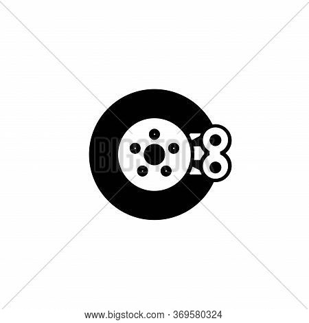 Vector Image Of Motor Disc Brakes On A White Background. Motorcycle Disc Brake Icon Symbol, Flat Vec