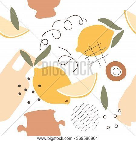 Abstract Pattern With Lemon, Pot And Jug In Pastel Colors. Fine Shade Design For Wrapping Paper, Tex