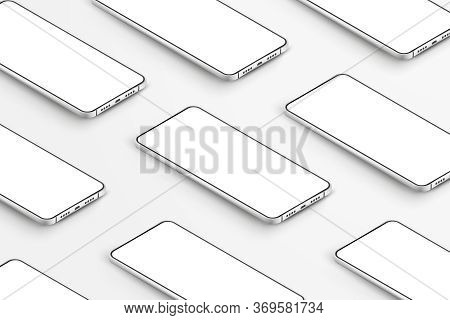 Realistic Smartphones Mockup. 3d Mobile Phones With Blank White Screens. Modern Cell Phones Template