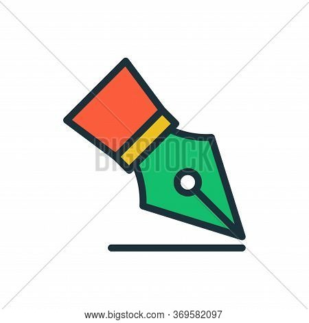 Fountain Pen Icon Vector In Trendy Flat Style Design. Vector Illustration
