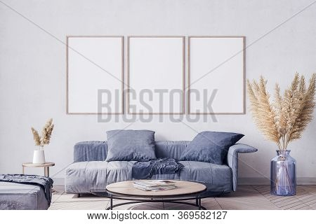 Scandinavian Interior Design Of Blue Living Room With Modern Furniture, Vintage Wall Background With