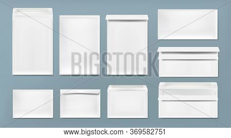 White Envelope A4, Dl And C6 Template. Vector Realistic Mockup Of Blank Closed And Open Envelopes, L