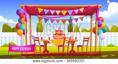Kids Birthday Party Decoration On Backyard, Festive Cake With Five Years Old Candle, Hats, Balloons