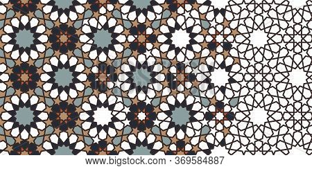 Rich, Luxury Morocco Star, Flower Seamless Vector Pattern. Geometric Halftone Pattern With Color Mor