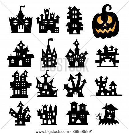 Set Of Halloween Icons. Halloween Haunted House Isolated On A White Background. Vector Illustration