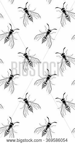 Dark Gothic Wasp Insect Vertical Seamless Wallpaper. Dangerous Black Bugs Cover On White Backdrop. V
