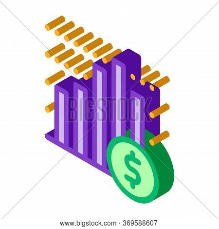 Financial Graph Chart And Coin Dollar Vector Isometric Sign. Color Isolated Symbol Illustration