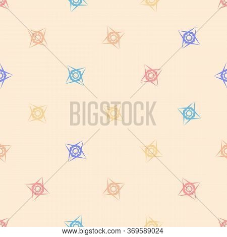 Vector Geometric Seamless Pattern With Bright Colorful Floral Shapes, Stars, Crosses On Beige Backgr