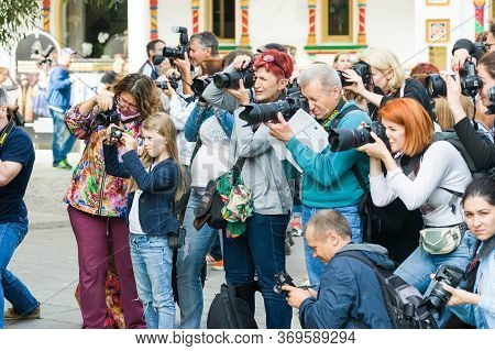 Moscow, Russia-august 26, 2017: Moscow Festival Of Photography Photofest. A Crowd Of Photographers O