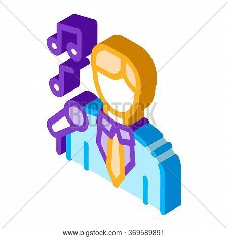 Man In Suit With Microphone Singing Recital Vector Isometric Sign. Color Isolated Symbol Illustratio
