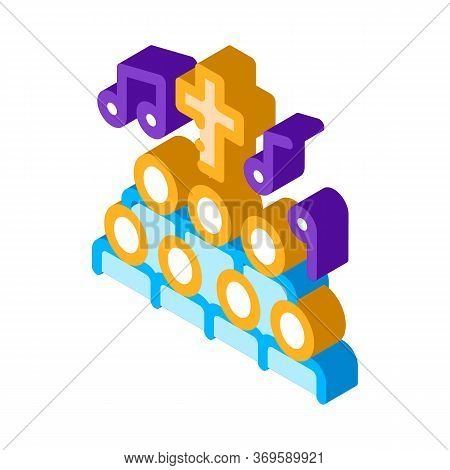 Church Choir Singing Song Concert Vector Isometric Sign. Color Isolated Symbol Illustration