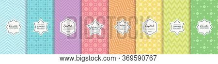 Cute Pastel Vector Seamless Pattern Collection. Set Of Rainbow Colorful Geometric Backgrounds With M