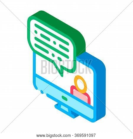 Computer Screen And Avatar Internet Discuss Vector Isometric Sign. Color Isolated Symbol Illustratio