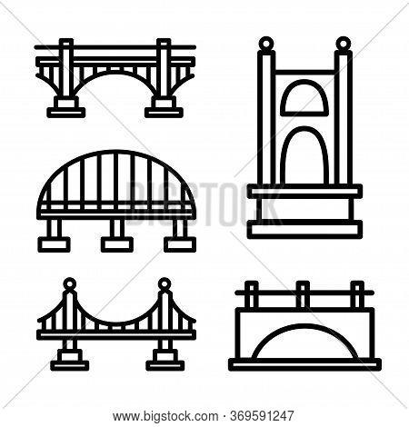Vector Bridge Icon Set. Various Bridges, Outline Icons. Line With Editable Stroke