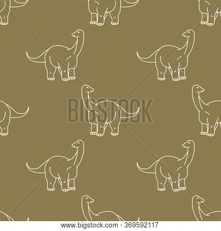 Seamless Background Whimsical Apatosaurus Dinosaur Gender Neutral Baby Pattern. Simple Minimal Earth
