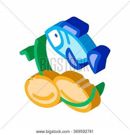 Fish Nutrients Supplements Icon Vector Isometric Sign. Color Isolated Symbol Illustration