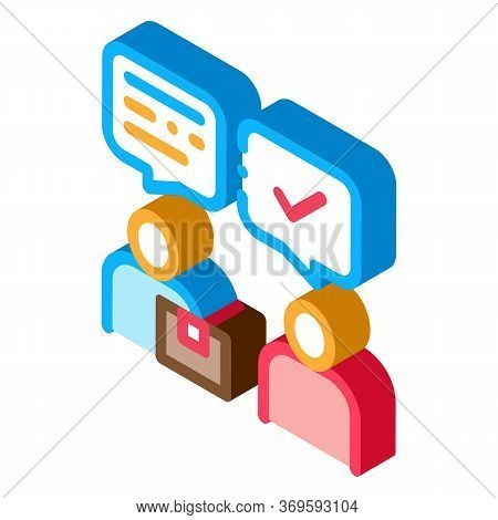 Conversation Of Sender And Postman Postal Transportation Company Icon Vector Isometric Sign. Color I