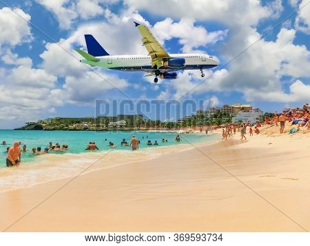 Philipsburg, Sint Maarten, Netherlands - May 14, 2016: The Beach At Maho Bay Is One Of The Worlds Pr
