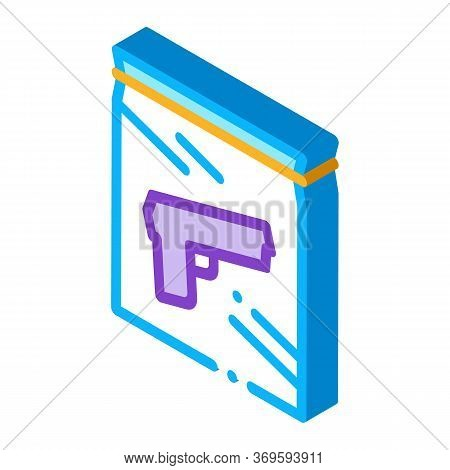 Evidence Gun Law And Judgement Icon Vector Isometric Sign. Color Isolated Symbol Illustration