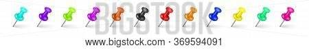 Multi-colored Pin Tacks With A Realistic Shadow On A White Background. A Collection Of Shiny Colorfu