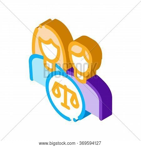 Family In Court Law And Judgement Icon Vector Isometric Sign. Color Isolated Symbol Illustration