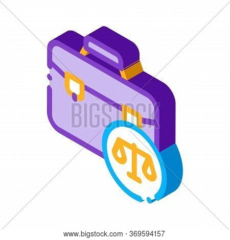 Suitcase Law And Judgement Icon Vector Isometric Sign. Color Isolated Symbol Illustration